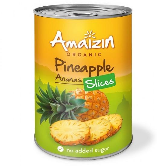 "Bio Ananas rondele ""fara zahar"" 400 ml Amaizin"