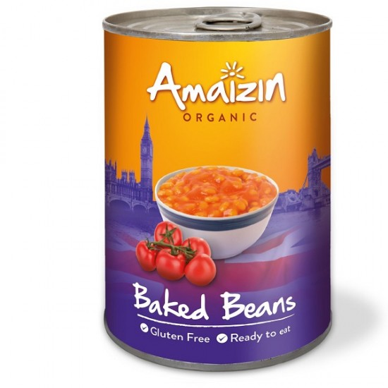 Bio Mancare de fasole alba cu sos de rosii la conserva 400g ,,fara gluten'' Amaizin