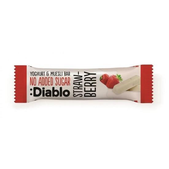 """Baton musli cu aromă de căpșuni și glazură de iaurt 30g """"fără adaos de zahăr"""""""