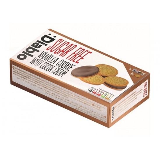 """Biscuiti sandwich cu aromă de vanilie și cremă de cacao 176g """"fără zahăr"""" Diablo"""